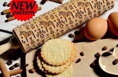 Embossing rolling pin - Swedish Dala Horse, Cookies decorating roller, Laser engraved rolling pin by AgnesWorld on Etsy