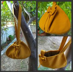 Mustard japanese knot purse with bow and fridge