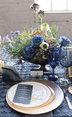 Celestial Wedding Menu by Shutterfly - Vanessa Anne Photography   violet and indigo wedding table setting details   more wedding style inspo @danellesbridal danellesboutique.com