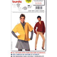 Casual Jacket Pattern Burda 7585 Raglan Sleeves Button Front Womens Size 8 to 20 Plus UNCUT - product images  of