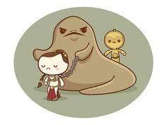 Kawaii Star Wars - Jabba & Slave Leia