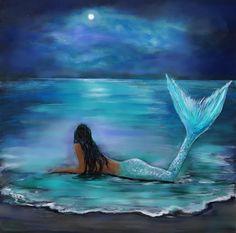 Mermaid, Moon And Stars Painting by Leslie Allen