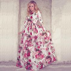 Stylish Lady Women's Fashion Casual Floral Printed Long Sleeve Maxi Long Party Cocktail Full Dress