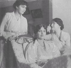 From left to right Anastasia, Maria and Tatiana. This photograph was taken towards the end of the summer of 1917.