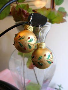 Christmas Earrings, Gold Christmas Bulb Earrings by SmithNJewels on Etsy