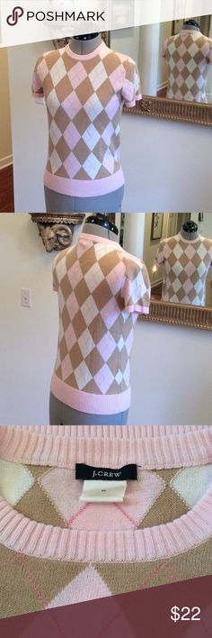J. Crew sweet 💕 Pink and tan J. Crew pullover , cotton sweater. Size M J. Crew Sweaters