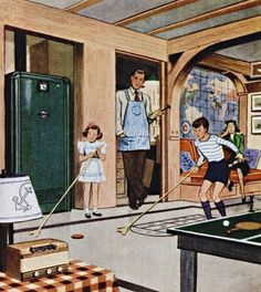 Post-War home designs - Rec Room for the basement was one of the many newest crazes for Post-War home construction.