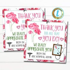 Nurse Appreciation Gift Tags! These awesome floral watercolor medical staff nurse thank you gift tags are great to use for the frontline medical workers in your community - doctors, nurses and medical staff. Great for nurse appreciation week too! Simply edit, print, hole punch and tie around any type of gift show your Nurse Appreciation Week, National Nurses Week, Doctor Gifts, Text Color, Thank You Gifts, Floral Flowers, Floral Watercolor, Gift Tags, Medical