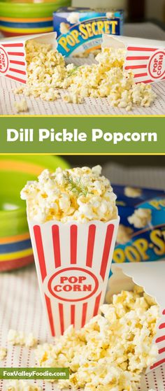 Make movie night special with dill pickle popcorn! The ingredients can be assembled as quickly as the popcorn takes to pop! Popcorn Snacks, Flavored Popcorn, Gourmet Popcorn, Popcorn Recipes, Popcorn Flavours, Popcorn Balls, Vegan Popcorn, Popcorn Kernels, Pop Popcorn