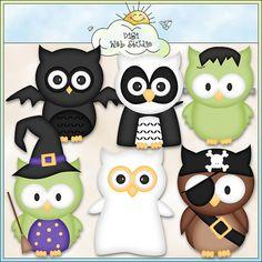 Halloween Owls 1  Digi Web Studio Clip Art by ArtbyLeahRae on Etsy, $3.00
