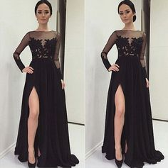 Bg390 New Arrival Chiffon Prom Dresses,Black Prom Dress,Long