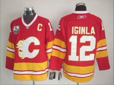 NHL Calgary Flames #12 Iginla Red Jersey with C Patch