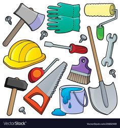 Various tools theme collection 1 vector image on VectorStock Handyman Logo, Bus Art, Cartoon Chicken, Book Sleeve, Sorting Activities, Construction Birthday, Dinosaur Birthday, Kids Education, Christmas Decorations To Make