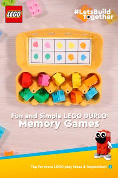 With a handful of LEGO® DUPLO® bricks and a few household objects, you can really help your toddler learn through play with these fun and simple memory games. So here are 6 easy games to play! Art Activities For Toddlers, Preschool Learning, Preschool Activities, Games For Kids, Crafts For Kids, Diy Crafts, Teaching, Lego Duplo, Learning Through Play