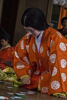 Karuta Hajime - Karuta is traditional Japanese playing cards. On the 3rd of New Year, Japanese girls in ancient kimono playing karuta.