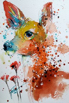 Fauve aquarelle gouache 133 x 20 cm Peinture originale Watercolor Paintings Of Animals, Watercolor Art Lessons, Watercolor Art Diy, Animal Paintings, Original Paintings, Simple Watercolor, Colorful Paintings, Abstract Animals, Art Tumblr
