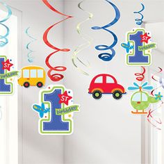 All Aboard Birthday Hanging Swirl With colourful cartoon cardstock cutouts in the shape of cars busses and helicopters these adorable Baby Boy Birthday Decoration, Birthday Themes For Boys, Boy First Birthday, Birthday Party Decorations, Car Birthday, Happy Birthday, 1st Birthday Party Supplies, Cars Birthday Parties, Transportation Birthday