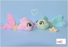 Would be adorable in clay. Fish In Love - by Ellana @ CakesDecor.com - cake decorating website