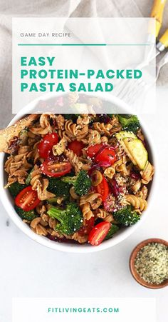 This pasta salad is made with seasonal summer veggies, dressed in a creamy balsamic dressing, and has a few secret ingredients to sneak in protein. Easy Pasta Salad, Pasta Salad Recipes, Creamy Balsamic Dressing, Healthy Dips, Game Day Food, Easy Cooking, Food Print, Breakfast Recipes, Vegan Recipes