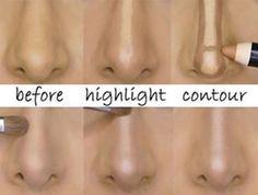 How to Contour/Highlight Nose, Contouring Hacks, Tips How to contour & highlight nose with makeup; Hacks tips tricks to make nose look smaller with contouring & highlighting; Nose Contouring, Contour Makeup, Contouring And Highlighting, Contour Nose, Nose Makeup, Hair Makeup, Beauty Makeup Tips, Beauty Secrets, Makeup Hacks