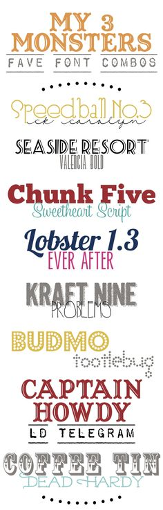 My 3 Monsters: Favorite Font Combos Font Design, Typography Design, Typography Fonts, Graphic Design Fonts, Hand Lettering, Typography Inspiration, Fancy Fonts, Cool Fonts, Creative Fonts