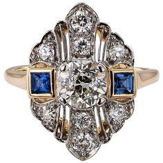Art Deco 1930s Diamond Sapphire Dinner Ring 1