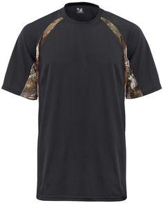 badger adult short-sleeve 2-tone hook tee - black / force (m)