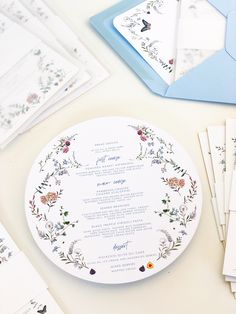 high-end custom wedding stationery Jolly Edition by Blue Envelopes, Wedding Envelopes, Floral Wedding Invitations, Wedding Stationery, Wedding Menu, Elegant Wedding, Our Wedding, Wedding Bells, Rehearsal Dinner Menu
