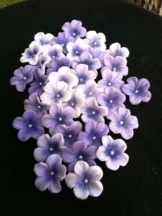Items similar to 5 Petal Gumpaste Blossoms Different Shades of Purple Gum Paste on Etsy Fondant Rose, Fondant Flowers, Clay Flowers, Flower Pots, Fondant Baby, Edible Flowers, Fondant Flower Tutorial, Fondant Figures Tutorial, Cake Tutorial