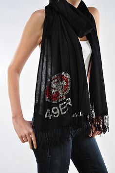 San Francisco 49ers Rhinestone Pashmina Shawl - Beautiful 49ers Woman's Scarf on Etsy, $29.95