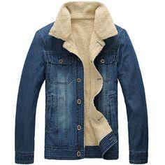 Mens Plus Velvet Warm Fur Collar Slim Fit Denim Jacket Coat Tops (US X-Small / Asia M)