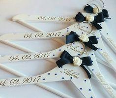 Personalised Bridal Hangers, Personalised Wedding Coat Hangers, Bridesmaids Gift Ideas, Bridal Coat-hangers, White Wooden Wedding Hangers,