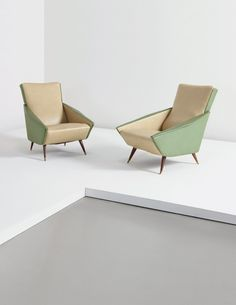 Gio Ponti; Vinyl, Stained Wood and Bronze 'Distex' Armchairs for Cassina, 1950s.