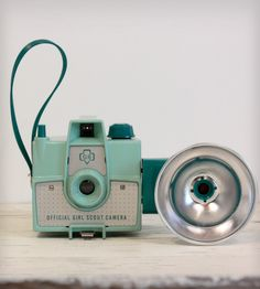 Vintage 1950s Girl Scout Mint Green Flash Camera - Working by Gallymogger on Scoutmob Shoppe. Vintage camera made especially for the Girl Scouts of America in the 1950s in mint green with darker green accents. Camera has a working shutter and film take up spool. $120