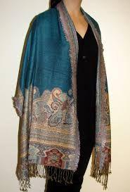 Pashmina Paisley Shawl Royal Blue Jacquard Design.