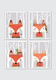 Fox Nursery Art Tribal Nursery Art Tribal Room by RomeCreations