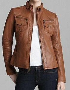 Women brown real leather jacket women biker by Myleatherjackets, $159.99