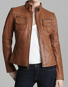 Women brown real leather jacket women biker by Myleatherjackets, $159.99