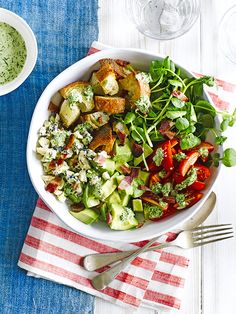 Cobb salad with green goddess dressing: This American classic contains chopped tomatoes, avocado, leaves and crisp bacon. Our version adds blue cheese, sourdough croutons and a green goddess dressing.