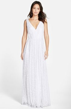 Vera+Wang+Pleated+Lace+V-Neck+Gown+available+at+#Nordstrom