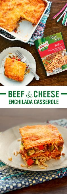 Treat your family to the flavors of Mexico with Knorr's Beef & Cheese Enchilada Casserole. The easy recipe includes tender beef, juicy zucchini, & creamy cheese. Follow these simple steps for dinner tonight: 1. Cook ground beef & onion 2. Add Knorr® Rice Sides™ - Beef flavor & bell pepper. Stir in zucchini & enchilada sauce 3. Layer tortillas, spread mixture, sprinkle cheese, & bake. Serve & enjoy!