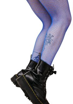 Cobalt Demon Days Fishnet Tights fer when yew got a hell of a day ahead, babe. Get thru it in these fishnets tights that feature a stretchy blue nylon construction that hugz yer curvez.
