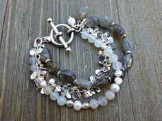 Labradorite stone, moonstone, white pearls, silver teardrop chain, silver metal bracelet.