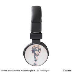 Flower Braid Custom Pink DJ Style Headphones