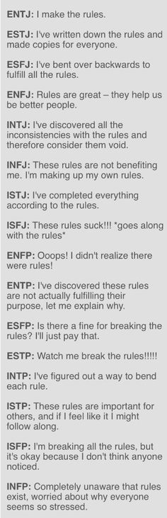 How MBTI Types Approach Rules-as an ENFJ with a lot of INFP traits I fall in both camps lol