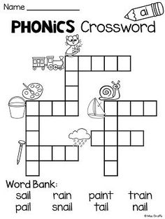 AI AY Worksheets And Activities Ai Sound Crossword Puzzle Kids