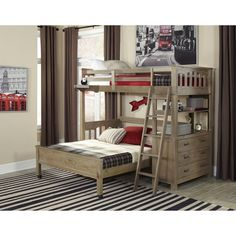 Ne Kids Highlands Driftwood Twin Loft Bed With Full Lower Bed Bunk Beds With Drawers, Trundle Bed With Storage, Bunk Beds With Stairs, Full Bunk Beds, Kids Bunk Beds, Full Bed, Loft Beds, Bedroom Sets, Bedding Sets