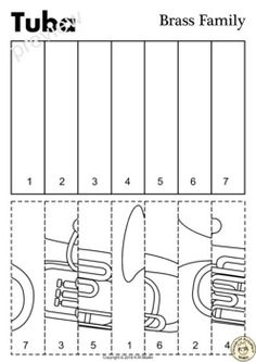 This resource contains three set of activities to help your students recognize and learn names of brass family instruments. Music Math, Kindergarten Music, Music Classroom, Teaching Music, Music Activities For Kids, Music Lessons For Kids, Music Worksheets, Kindergarten Math Worksheets, Instruments