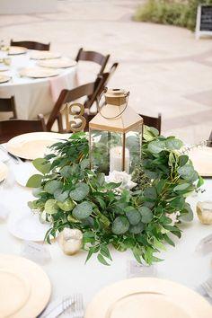 Round Table Centerpieces, Green Centerpieces, Greenery Centerpiece, Greenery Garland, Eucalyptus Centerpiece, Summer Wedding Centerpieces, Table Decorations For Wedding, Inexpensive Wedding Centerpieces, Lantern Centerpiece Wedding