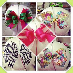 Stacked boutique hairbows by Nichole's Unique Boutique! Find us in Facebook!